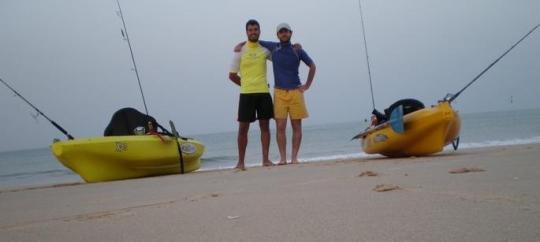 El día del estreno de mi kayak hace años.